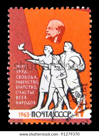 "USSR - CIRCA 1963: A stamp printed in the USSR (Russia) represents a Peace with inscription and series name ""Peace, work, freedom, equality, brotherhood and happiness of all peoples"", circa 1963"