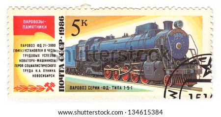 USSR - CIRCA 1986: A stamp printed in the USSR, shows steam locomotive series FD 21-3000 (type 1-5-1), circa 1986