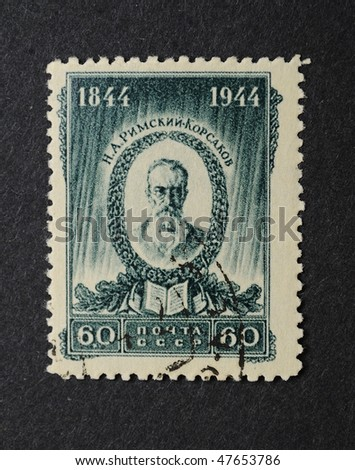 USSR - CIRCA 1944: A Stamp printed in the USSR shows the russian composer N.A.Rimsky-Korsakov, circa 1944