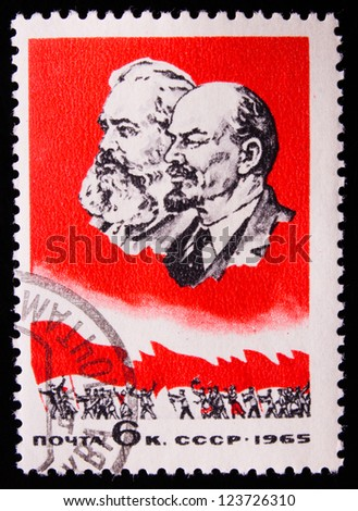 USSR - CIRCA 1965: A stamp printed in USSR shows a picture of Karl Marks and Vladimir Lenin, circa 1965.