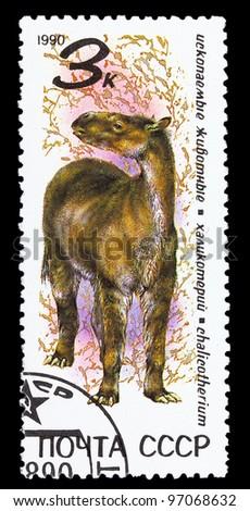 USSR- CIRCA 1990: A stamp printed in USSR shows dinosaur, circa 1990