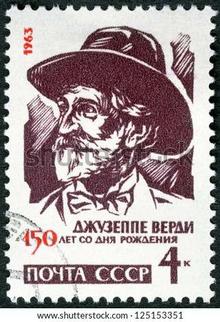 USSR - CIRCA 1963 : A stamp printed in USSR shows Giuseppe Verdi (1813-1901), Italian composer, 150th birth anniversary, circa 1963
