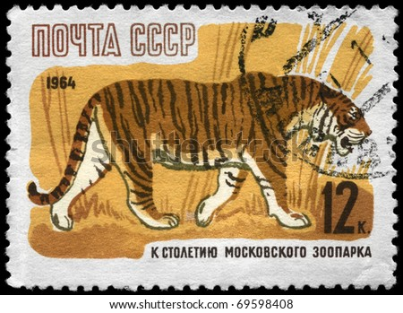 """USSR - CIRCA 1964: A Stamp printed in USSR shows image of a Tiger from the series """"100th anniv. of the Moscow zoo"""", circa 1964"""