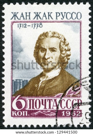 USSR - CIRCA 1962: A stamp printed in USSR shows Jean-Jacques Rousseau (1712-1778), a Genevan philosopher, writer and composer, circa 1962