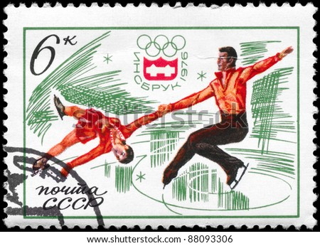 "USSR - CIRCA 1976: A stamp printed in USSR shows the Figure Skating, pair, from the series ""12th Winter Olympic Games, Innsbruck, Austria"", circa 1976 - stock photo"