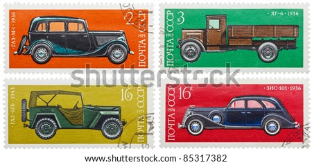 USSR - CIRCA 1975: Collection of stamps printed in USSR, shows russian retro cars, series, circa 1975.