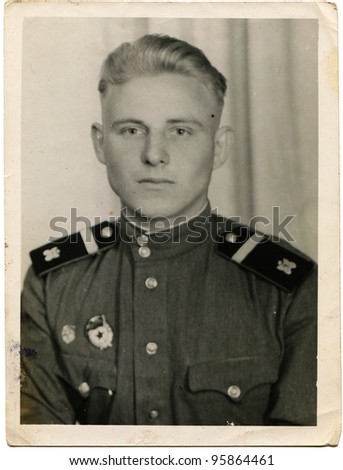 USSR - CIRCA 1952:  Guard sergeant of sapper troops of Soviet Army, circa 1952