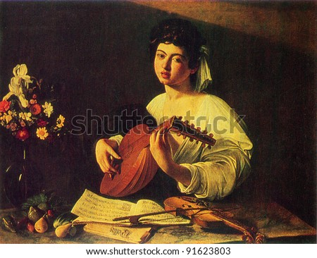USSR - CIRCA 1983; Postcard printed in the USSR shows draw by Caravaggio (1571 - 1610) The Lute Player. 1595. Hermitage, St. Petersburg. Reproduction of an old postcard.