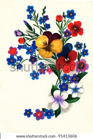 USSR - CIRCA 1980: Postcard printed in the USSR shows draw by Chmarov - Floral Pattern, circa 1980