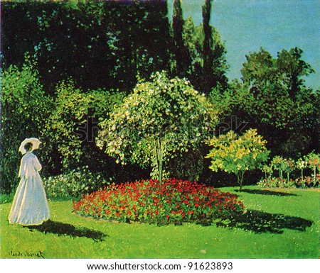 USSR - CIRCA 1983; Postcard printed in the USSR shows draw by Claude Oscar Monet (1840 - 1926) Lady in the Garden (Sainte-Adresse). 1867. Hermitage, St. Petersburg. Reproduction of an old postcard.