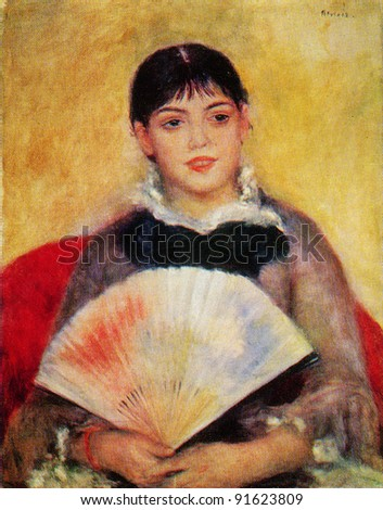 USSR - CIRCA 1983; Postcard printed in the USSR shows draw by Pierre Auguste Renoir (1811 - 1919) Girl with a Fan. 1881. Hermitage, St. Petersburg. Reproduction of old postcard.