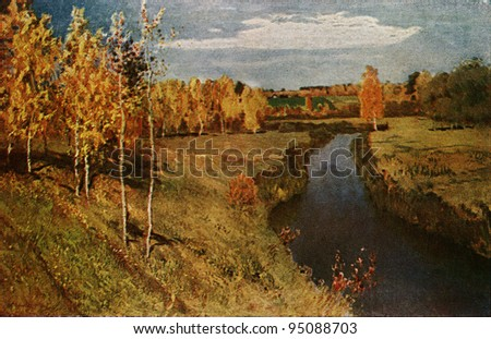 USSR - CIRCA 1944: Postcard printed in the USSR shows paint by Isaac Levitan - Golden Autumn, 1895, State Tretyakov Gallery, circa 1944