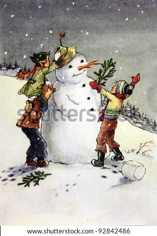 USSR - CIRCA 1955: Reproduction of antique postcard shows Children shape the snowman, circa 1955