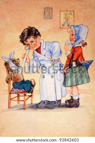 USSR - CIRCA 1953: Reproduction of antique postcard shows Childrens playing medicine, circa 1953