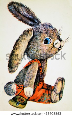 USSR - CIRCA 1978: Reproduction of antique postcard shows rabbit, circa 1978