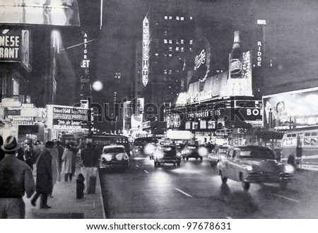 "USSR - CIRCA 1957: Soviet magazine ""Ogoniok"" shows old photo of Broadway in New York made by U. Gukov, publishing house ""Pravda"", issue 3, circa 1957 in Moscow, USSR - stock photo"