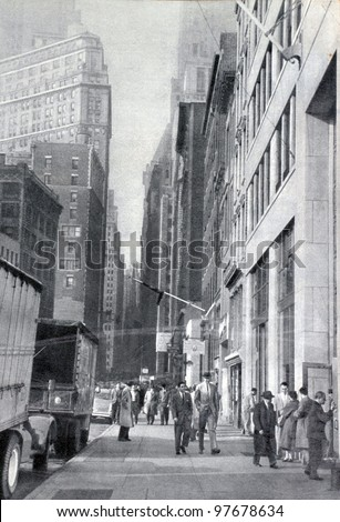 "USSR - CIRCA 1957: Soviet magazine ""Ogoniok"" shows photo of Wall Street in New York made by U. Gukov, publishing house ""Pravda"", issue 3, circa 1957 in Moscow, USSR - stock photo"