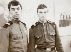 USSR, LENINGRAD - CIRCA 1968: Vintage photo of two Soviet Army soldiers in Leningrad, USSR