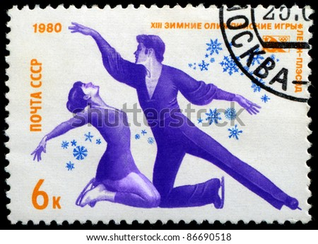 USSR (RUSSIA) - CIRCA 1980: The post stamp printed in the Soviet Union devoted to the Winter Olympic Games in Lake-Placid, circa 1980