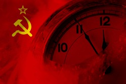 USSR, Soviet, Russia, Russian, Communism flag with clock close to midnight in the background. Happy New Year concept