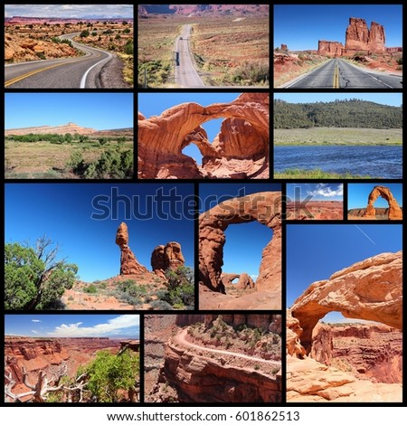 Utah landscapes photo collage - travel collection with national parks (Arches and Canyonlands).
