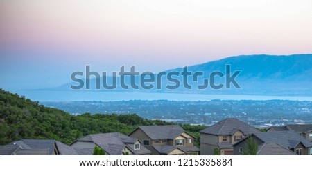 Utah Valley views with homes mountain and lake #1215335884