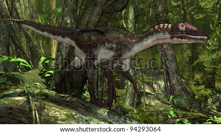 utahraptor in jungle