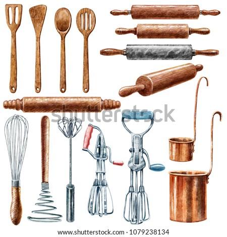 Utensil, kitchen, watercolor illustration, isolated on white