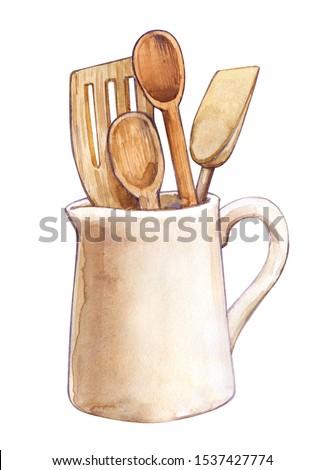 Utensil kitchen wooden spoons spatulas milk jug cooking Still-life watercolor isolated illustration