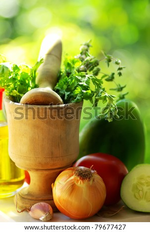 Utensils and ingredients of mediterranic cuisine.