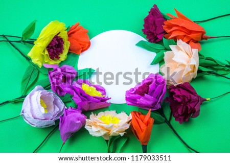 Free photos handmade crepe paper flowers avopix utensils and tools for making crepe paper flowers on green background cosmos flower bouquet mightylinksfo
