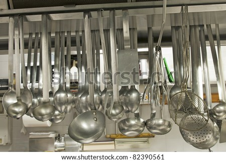 utensils in a kitchen restaurant