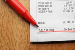 Utility bill in Japanese. Translation: basic gas charge, metered charge, consumption tax, current gas charge, carry-over amount, total amount used. Japanese yen.