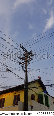 Utility pole (power pole) have so many wires or cables