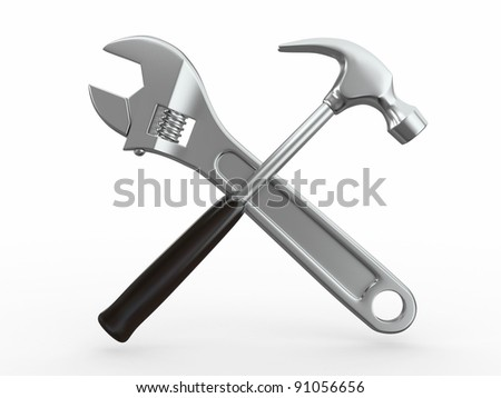 Utility. Tools, Wrench and hammer on white bsckground. 3d