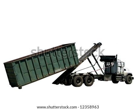 Utility truck loading or unloading a roll-off refuse dumpster trash roll off container isolated over white
