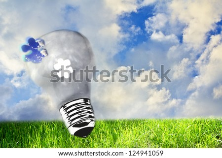 utopic nature and lightbulb, concept of ecology