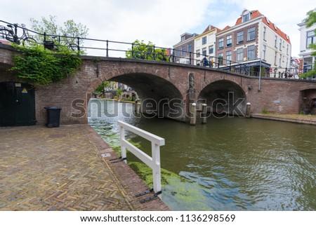 Utrecht / Netherlands / 14 june 2018 / City centre of Utrecht, buildings, canals. #1136298569
