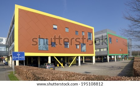 UTRECHT, NETHERLANDS - MARCH 29, 2014: Modern exterior of the Wilhelmina children\'s hospital. In 2013 it celebrated its 125 years existence