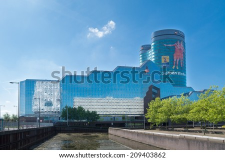 UTRECHT, NETHERLANDS - MAY 17, 2014: Rabobank headquarters building. Rabobank is a Dutch bank, consisting of 136 independent cooperatives, all with their own banking license of the Dutch Central Bank