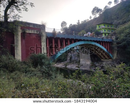 uttarakhand,india-9 may 2020:this is a picture of kosi bridge.the bridge is on the kosi river.the structure of the bridge is very beautiful.