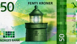 Utvaer Lighthouse, Portrait from Norway 50 Kroner 2017 Banknotes. An Old paper banknote, vintage retro. Famous ancient Banknotes. Collection.