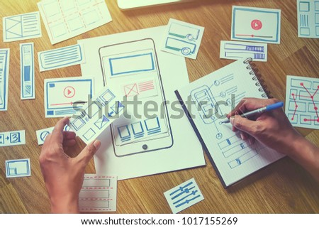 ux designer creative Graphic planning application development for web mobile phone . User experience concept . #1017155269