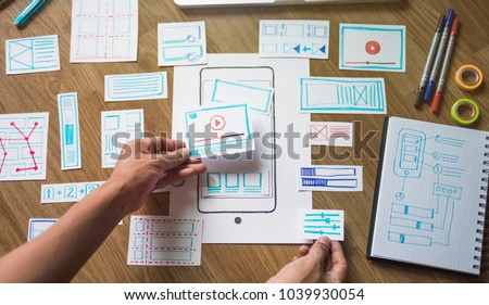 ux designer creative Graphic planning application development for web mobile phone . User experience concept.