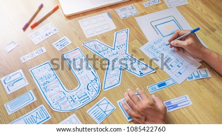 ux designer creative Graphic planning application development for web mobile phone . User experience concept. #1085422760
