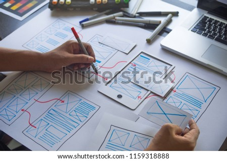 ux Graphic designer creative  sketch planning application process development prototype wireframe for web mobile phone . User experience concept. #1159318888
