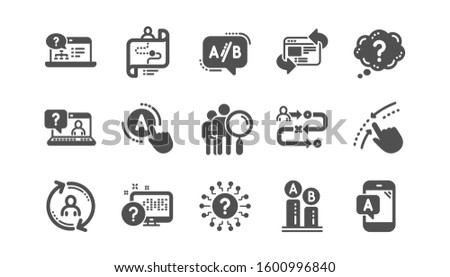 UX icons. AB testing, Journey path map and Question mark. Quiz test classic icon set. Quality set.
