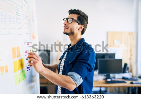 Ux specialist designing new application layout on whiteboard