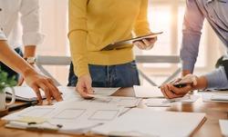 UX UI concept, Team of Website designer Creative planning application development draft sketch drawing template layout.