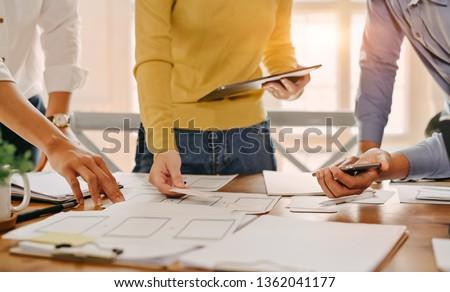 UX UI concept, Team of Website designer Creative planning application development draft sketch drawing template layout. #1362041177